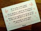 Wedding Poem Gift Cards, Money For Honeymoon Butterflies White Card, 19 Colours