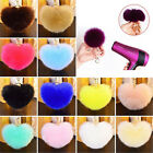 Cut Rabbit Fur Heart Ball PomPom Charm Car Keychain Handbag Pendant Key Ring SU