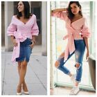 D40 Pink Layered Ruffle Sleeve Wrap Tie Off The Shoulder Deep V Blouse Top