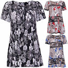 Womens Floral Printed Short Sleeve Ladies Smock Tunic Long T-Shirt Top Plus Size