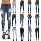 WOMENS LADIES BLACK BLUE SKINNY RIPPED LACE CUT OUT BOW JEANS DENIM SIZE 6-14