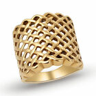 316L Stainless Steel Fashion Women Ladies 18K Gold Plated Grid Rings Size 7-11