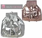 NEW WOMENS GIRLS FAUX LEATHER METALLIC BUCKLE DRAWSTRING BACKPACK RUCKSACK