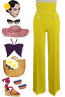 50s Style YELLOW High-Tide Wide Leg Sailor Pants with NAUTICAL Button Details