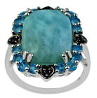 Larimar 8.93 Ct. Cocktail Ring Neon Apatite & Black Spinel 925 Silver Jewelry