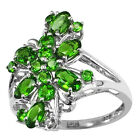Engagement Stunning Lady Cluster Ring Chrome Diopside 2.35 Ct 925 Silver Jewelry