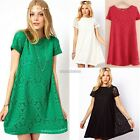 New Fashion Women Short Sleeve Floral Hollow Out A-line Dress Casual Party N98B