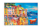 Colourful Boats and Town Oil Painting Re-Print on Poster Prints Wall Pictures