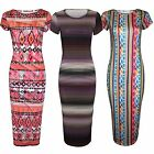 WOMENS LADIES AZTEC STRIPED PRINT MIDI DRESS CAP SLEEVE BODYCON DRESSES