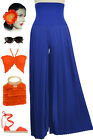 Vintage Inspired ROYAL BLUE High Waisted WIDE LEG Pleated PALAZZO Pants