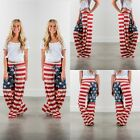 Womens Wide Leg Trousers American Flag Star & Striped Print Baggy Loose Pants