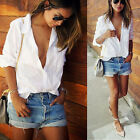 Fashion Womens Ladies Casual V-neck Long Sleeve Shirt Tops Loose Cotton Blouse