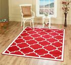 Large Modern Geometric Moroccan Trellis Thin Carpet Red Contemporary Area Rug