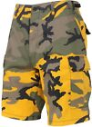 Mens Bright Yellow Camouflage Military BDU Cargo Shorts Hunter Shorts