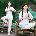 Women Ethnic Yoga Kung Fu Sportswear Zen Meditation Tops + Pants Set Uniform
