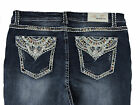 Grace in LA Women Plus Bootcut Jeans Mid Rise Tribal Princess Flap in Dark Blue