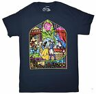 Disney Men's New (Beauty & The Beast Stained Glass Window) License T-shirt