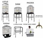 NEW WUNDAPETS QUALITY BLACK BUDGIE CANARY FINCH PARROT CAGES WITH TROLLEY STAND