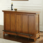 Oak Finish Bar Home Furniture Dining Wine Bottle Stemware Storage Footrail