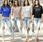 Women Sequins Tops Sparkle Glitter Cocktail Even Party T-Shirt Blouse S-2XL New