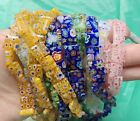40 x 10MM Assorted Mixed colors Flat square flower Millefiori Beads