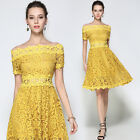 Women's Yellow Lace Floral Off Shoulder Casual Cocktail Party Dress Size 4 To 12