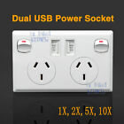 Dual USB Australian Power Point Home Wall Power Supply Plug Socket Switch Kit