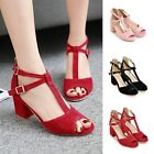 Women's Casual Open Toe Strap Buckle Block Chunky High Heels Party Prom Sandals