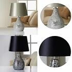 Ava Mosaic Table Lamp Contemporary Elegant Modern Design In Silver or Black NEW