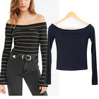 Womens Bare Off Shoulder Long Sleeve Striped Fit Top Blouse Casual