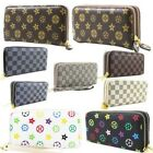 NEW WOMENS FAUX LEATHER PATTERNED SINGLE OR DOUBLE ZIPPER WALLET PURSE