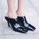 Womens punk classic stilettos high heel black 2 styles shoes Square Toe Europe