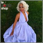 WHITE 50s Inspired Marilyn Style Open Back Full Skirt HALTER Sun Dress