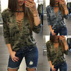 Womens Long Sleeve Lace Up Camouflage Shirt Casual Blouse Loose Tops T Shirt US
