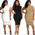 Women Plus Size Design Dress Solid Sleeveless Dress Gauze Splice Party MiniDress