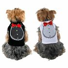 Pet Dog Cat Shirt print Tuxedo w Bow Tie Wedding Party Costume Clothes Apparel