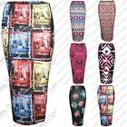 WOMENS BODYCON COLOUR PRINT STRETCH PENCIL SKIRTS LADIES SKIRT LONG MIDI LENGTH
