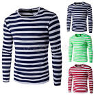 2017 New Stylish Slim Fit Top Spring Mens Long Sleeve T-Shirt O Neck Striped Tee