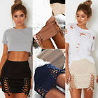 Uk Women Suede Leather A-line High Waist Lace Up Bandage Party Short Skirt Dress