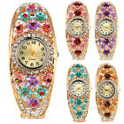 D14 Gold Pink Blue Purple Crystal Flower Hinged Fashion Watch Bangle