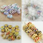 10 Pieces Czech Crystal Silver Gold Round Rondelle Big Hole European Charm Beads