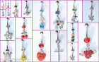 Belly Bars Drop Body Piercing Naval Button Ring Crystal Dangly Reverse Navel Bar