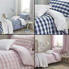 Kids Bianca 100% Cotton Soft Gingham Print Duvet Quilt Cover Set Blue Pink