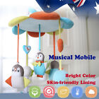 Baby Cot Crib Bed Musical Mobile Nursery Play Penguin Elephant Bird Cotton Blue