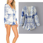 Womens Print Floral V Neck Long Sleeve Jumpsuit Romper Tops Shorts Boho Style