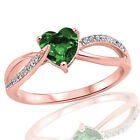 18k Rose Gold Plated Fashion Emerald Heart Infinity w/ CZ Sterling Silver Ring