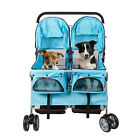 4-Wheel Pet Stroller for Twin Pet Walk Travel Folding Carrier