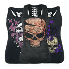 Women Gothic Skull Print Sleeveless Vest Top Shirt Blouse Tank Tops T-Shirt UK