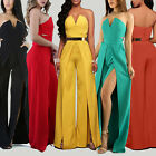 Women Strapless Clubwear Playsuit Bodycon Party Jumpsuit Romper Long Trousers