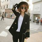 Womens Black Navy Force Loose Fit Suits Double Breasted Embroidery Lapels Jacket